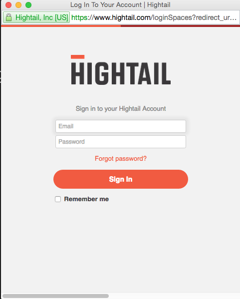 Logging into Spaces using OAuth – Hightail
